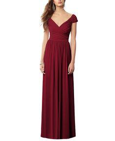 DescriptionAfter Six Style 6697Fulllengthbridesmaid dressCap sleeve withsweetheart necklineDraped bodiceSkirt gathers at waistlineMaracaine jersey