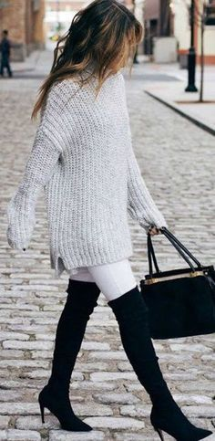Classy Winter Thigh High Boots Outfit for Work with Oversized Sweater - www.Poshiroo.com