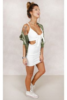 Vestido Cute Nó Branco Fashion Closet - fashioncloset