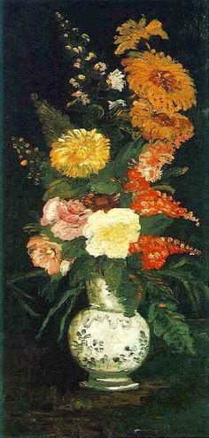 nataliakoptseva:  Vase with asters,salvia and others flowers Vincent Van Gogh