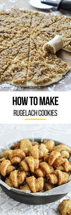 How To Make the BEST Rugelach Cookies. We LOVE this classic Christmas cookie recipe and break it down step by step so they're EASY to make at home. You can fill them with anything from ground nuts and (Peanut Butter Dessert Recipes) Rugelach Cookies, Galletas Cookies, Rugelach Recipe, Classic Christmas Cookie Recipe, Cookie Recipes, Dessert Recipes, Bread Recipes, Holiday Cookies, Christmas Baking