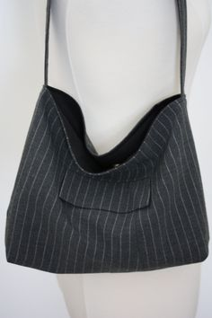 c111db5649eb Gray Pinstripe Suit Coat Slouch Purse by BagsByMarede on Etsy