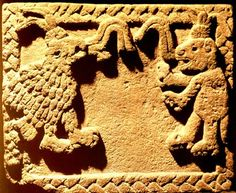 "Dialogue between Eagle and Jaguar, from the Templo Major. The pattern of opposition and duality evident in the juxtapositions of the sun disk with earth monster, of sky band with earth band, is to be found in several others emblems. Frequently paired are the jaguar and the eagle, referring to the elite warriors who were metaphorically called ""eagles and jaguars""."