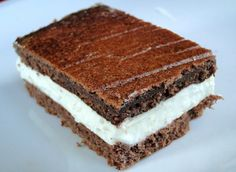 Homemade Kinder Milk Slice (chocolate sponge sandwich with a milky filling)