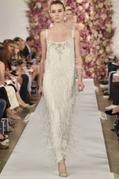 """The 50 Best Bridal Looks from the Spring 2015 Collections – Vogue - Oscar de la Renta  """"Have your own Amal Alamuddin moment in Oscar de la Renta's modern take on flapper fashion."""""""