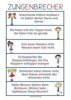 Zungenbrecher - German tongue twisters #lesen #Wortschatz #DAF #DAZ