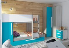 Moderní dětský pokoj s modrým nádechem Armoire, Bunk Beds, Turquoise, Scale, House, Furniture, Cannes, Home Decor, Apartments
