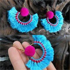 Pretty Blue Fluff Cotton & Nice Pom poms with Brass Earrings, Jewelry Handmade