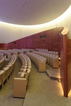 Image 25 of 27 from gallery of Princess Nora Bint Abdulrahman University / Perkins+Will. Photograph by Bill Lyons Metal Patio Chairs, Auditorium Design, Hall Interior, Facade Architecture, Islamic Architecture, 21st Century Learning, Riyadh, Modern Buildings, Design Firms