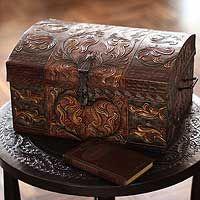 Autumn Leaves Tooled Leather jewelry box  - NOVICA