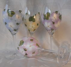 Hand Painted Crystal Wine Glasses  FREE Shipping in by EverMyHart- $75.00 *** The last day to receive free shipping in time for Christmas delivery is Dec 18th ***