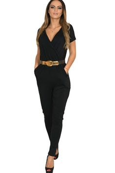 Women s Short Sleeve V Neck Wrap Front Jumpsuit