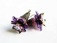 Purple Bohemian earrings Flower earrings by MarianneMerceria