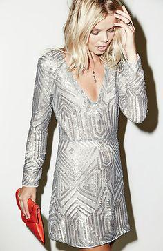 For my next semi-formal event.  Love the long sleeve SAYLOR Sequin Naomi Platinum Dress in Metallic | DAILYLOOK