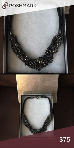 "J Crew Statement Necklace Edgy design. Gunmetal color. Like new. 20"" long. J. Crew Jewelry Necklaces"
