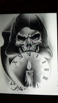 Hooded reaper clock tattoo