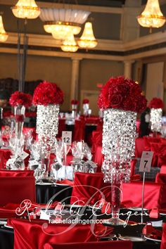 red reception wedding flowers, wedding decor, red wedding flower centerpiece, red wedding flower arrangement, add pic source on comment and we will update it. Bling Centerpiece, Red Centerpieces, Wedding Table Centerpieces, Wedding Decorations, Centerpiece Ideas, Red Wedding Flower Arrangements, Red Wedding Flowers, White Silver Wedding, Red And White Weddings