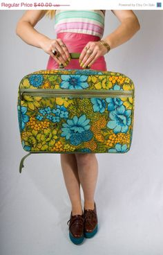 Vintage Japanese 60's Bright Green Luggage by JoulesJewels
