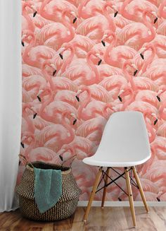 Coral Flamingo Repositionable Peel 'n Stick Wallpaper // Custom Colors! Florida Living, Florida Home, Peel N Stick Wallpaper, Temporary Wallpaper, Beach Bathrooms, Loft, Pattern Names, Artist Canvas, Print And Cut