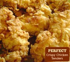 How to make crunchy, restaurant style chicken tenders. just happens to be what I'm craving today :-) Made on turned out good but not as crispy as pictured although I did overcook a bit. Chicken wasstill really moist and tatse was excellent. Turkey Recipes, Meat Recipes, Chicken Recipes, Cooking Recipes, Recipies, Crispy Chicken Tenders, Battered Chicken Tenders, Chicken Crispers, Fried Chicken Strips