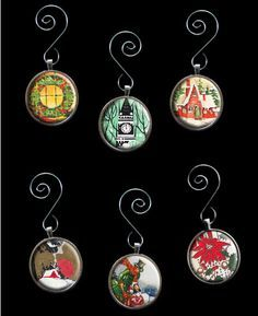 Make Your Own Glass Picture Christmas Ornaments Kit 6 Round