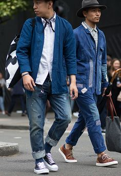We take a look at one of the most coveted pieces for collectors and street-style stars alike: the bleu de travail or French worker jacket. Rugged Men's Fashion, Workwear Fashion, Denim Fashion, Fashion Men, Street Fashion, Work Overalls, Work Jackets, Look Vintage, Men Street
