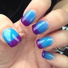 """Heat-sensitive nail polish!  Blue when warm; purple when cold. It's constantly changing colors! #thxgrace #ultimatenails #gloucester…"""