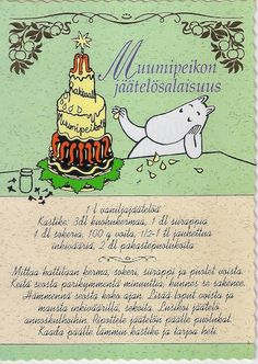 """Moomin's Icecream Secret (recipe)"" I haven't translated the recipe yet. Tove Jansson, Moomin Shop, Finnish Recipes, Baking With Kids, Old Recipes, Kermit, Recipe Cards, Sober, Finland"