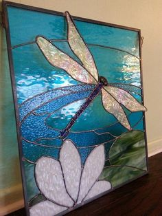 My Dragonfly Stained Glass Project 2016 -KCannon #StainedGlassVitrales #FauxStainedGlass #StainedGlassKitchen