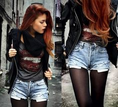 Black jacket, tee and shorts with tights!!