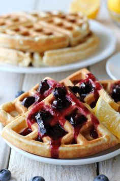 """Lemon Belgian Waffles with Blueberry Syrup damndelicious: """" When I think of waffles, I imagine the perfect breakfast, sitting out on the patio with freshly squeezed orange juice, a side of hash. Breakfast And Brunch, Breakfast Waffles, Breakfast Items, Perfect Breakfast, Morning Breakfast, Sunday Brunch, Sunday Morning, Blueberry Waffles, Crepes And Waffles"""