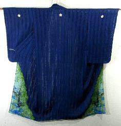 Refreshing Willow & Swallow on Stream Pattern Tatero Vintage Summer Irotomesode