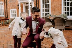 Groom with Stylish Page Boys in Bowties and Cardigans | By Nicola Streader Photography | Stylish Wedding | Registry Office Wedding | Winter Wedding | Cool Wedding | Stylish Bride and Groom | Page Boy Outfits |