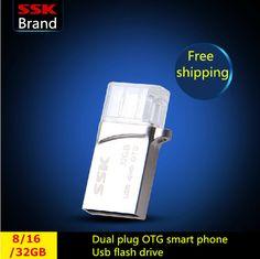 SSK SFD245 OTG USB 100% 32G 16G 8G USB Flash Drives Smartphone Pen Drive Micro USB Portable Storage Memory Metal USB Stick
