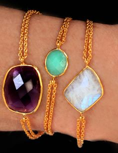 Gemstone one-stone chain bracelets