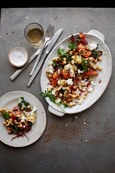 Roast spiced carrots and cauliflower with chickpeas and feta