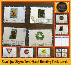 These functional sight word task cards are designed for students with autism or other disabilities working on functional curriculum or life skills. This set includes 60 multiple-choice task cards identifying sight words related to signs in the environment. They are differentiated by level of difficulty with cards 1-24 being signs that have the words on them and 25-60 having no words in the pictures. The cards are designed to work with environmental print sight word curricula. $3