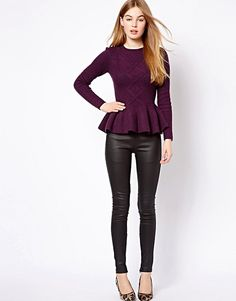 Ted Baker Cable Knit Jumper with Peplum Hem | ASOS Peplum Sweater, Cable Knit Jumper, Sweater Patterns, Ted Baker, Asos, Knitting, Chic, Sweaters, Shopping