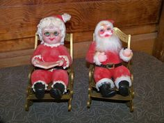 Vintage Flocked Plastic Mr and Mrs Santa Claus Figurine in Collectibles, Holiday & Seasonal, Christmas: Modern (1946-90) | eBay