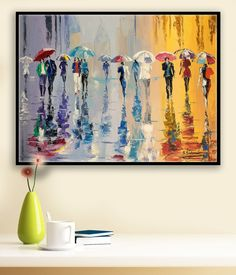 Oil Painting ORIGINAL Painting Cityscape Umbrellas door sidorovart