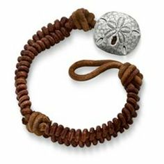 Cinnamon Woven Leather Bracelet with Sand Dollar Clasp: James Avery