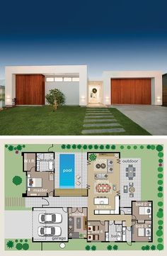Architecture House Pool Floor Plan Friday: The pool is the showpiece - Katrina Chambers Modern House Floor Plans, Dream House Plans, Small House Plans, Modern House Design, Dream Houses, Modern Houses, House Plans With Pool, Home Floor Plans, Single Storey House Plans