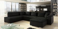 MODERNO NORDIC-U SOFA Black Sectional, Living Room Sectional, Velvet Bed Frame, Apartment Furniture, Apartment Ideas, Home Organization, Cribs, Room Decor, Couch