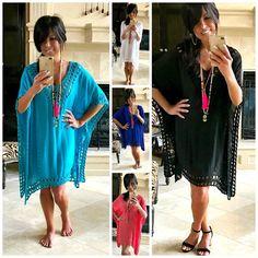 97483cabf5 LA PLAYA Boho FLOWY Crochet Kaftan Tunic Dress Black White Coral Turquoise  S-XXL #