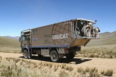 The Unicat is over an OVER the top RV. It would be great fun to drive it on a trip but I don't think i'd like to own one. It has a washer and dryer inside and can sleep a family of four. Who needs a house?