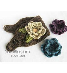 Free Fleece Ear Warmer Pattern | Home » CROCHET PATTERN Ear Warmer with Interchangeable Flowers (Sizes ...