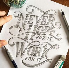 Hand lettering inspiration on a daily basis! Calligraphy and hand lettering for beginners we provide inspirational and educational content on the art of typography! Visit our website to find out more :) Brush Lettering Quotes, Typography Quotes, Typography Inspiration, Typography Letters, Typography Poster, Lettering Design, Lettering Styles, Lettering Ideas, Poster Quotes
