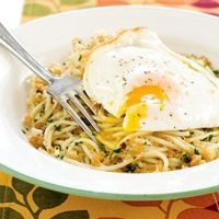 Salerno-style Spaghetti With Fried Eggs And Bread Crumbs Recipe.  Making it tonight.