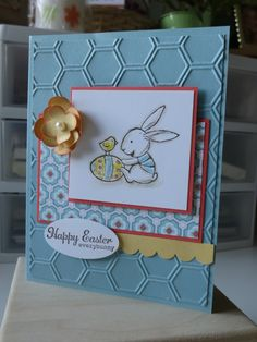 Love the versatility of the honeycomb embossing folder. An Easter themed card here...
