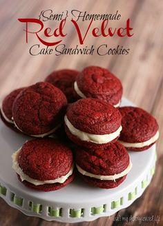 {Semi} Homemade Red Velvet Cake Sandwich Cookies